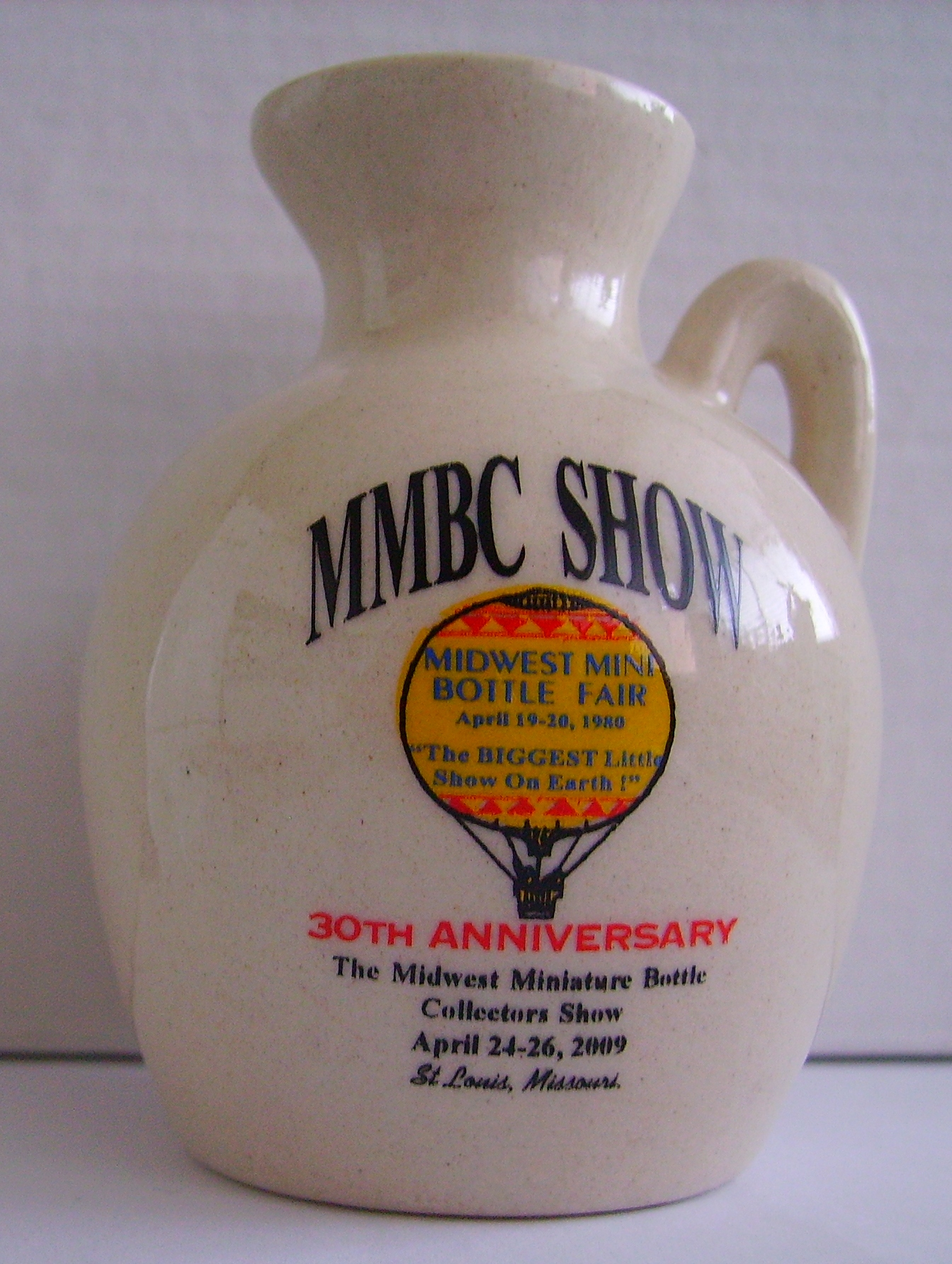 30th Anniversary Midwest Miniature Bottle Club Jug – Front side
